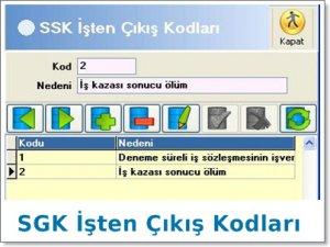 SGK İşten Çıkış Kodları