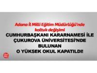 Adana İl Milli Eğitim Müdürlüğü'nde koltuk değişimi